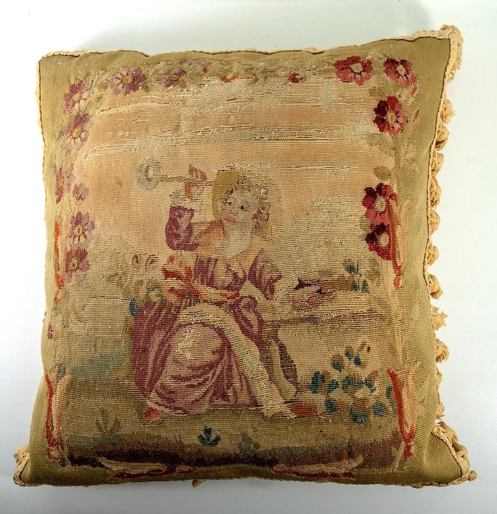 indian antique french cushions. RARE Antique French Aubusson Or Gobelin Tapestry Panel PAIR, Throw Pillows,  Figural (2 Indian Antique French Cushions D