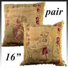 RARE Antique French Aubusson or Gobelin Tapestry Panel PAIR, Throw Pillows, Figural (2)