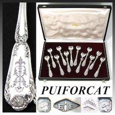 """Antique French PUIFORCAT Sterling Silver 12pc Shellfish or Oyster Fork Set in Box, Louis XVI Style, """"Pompadour"""" Pattern"""