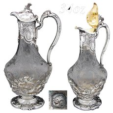 Exquisite Antique French Cardeilhac Sterling Silver & Intaglio Glass 34oz Claret Jug, Highly Ornate Louis XV Style