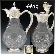 Elegant Antique French Sterling Silver & Cut Glass 44oz Claret Jug, Pitcher, Classical or Empire Style
