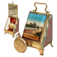 """Antique French Grand Tour Style Pocket Watch Casket, Box: Souvenir of """"Chateau des Papes"""""""
