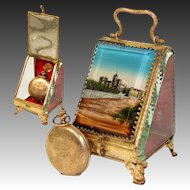 "Antique French Grand Tour Style Pocket Watch Casket, Box: Souvenir of ""Chateau des Papes"""