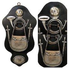 Antique Napoleon III Era Hunt Themed Match or Spill Holder, Cap, Bugle & Satchel