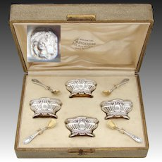 Elegant Antique French Sterling Silver 4pc Open Salt Set, Ornate Empire Style, Glass Inserts, Fitted Box