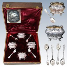 Antique French Sterling Silver 4pc Open Salt Set, Ornate Style, Glass Inserts, Crown Topped Box