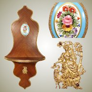 """Antique French Empire Style 24.5"""" Wall Shelf, Kingwood & Gilt Ormolu with Sevres Style Porcelain Medallion"""