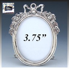 """Antique French? Hallmarked Sterling Silver 3.75"""" Picture Frame, Bow & Ribbon, Floral Garland"""