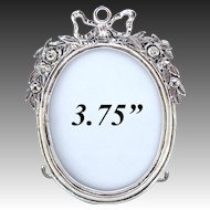 "Antique French? Hallmarked Sterling Silver 3.75"" Picture Frame, Bow & Ribbon, Floral Garland"