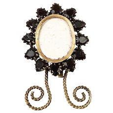 "Antique Bohemian or French Gem Frame, Set with Garnets, Just 2 1/8"" Tall"