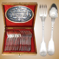 Elegant Antique French Christofle Silver Plate 24p Dinner Size Flatware Set, Thread Pattern