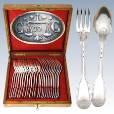 Elegant Antique French Christofle Silver Plate 24p Dinner Size Flatware Set, Thread Pattern