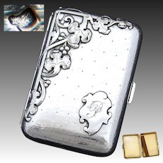 Antique French .800 (nearly sterling) Silver Cigarette or Cheroot Case, Art Nouveau Leaves