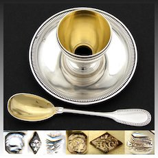 Elegant Antique French Sterling Silver Egg Cup & Attached Saucer with Spoon