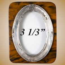 Antique English Sterling Silver Miniature Frame, Faux Shell Backing, c.1886, Birmingham