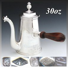 Antique French Sterling Silver Coffee, Chocolate or Tea Pot, Unique 1700s Simplistic Style