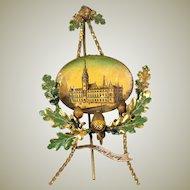 """Antique Hand Painted Toleware Tole Grand Tour Souvenir Frame, """"Hamburg"""" Germany, Acorns"""