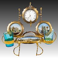 Antique French Pocket Watch Stand, Epergne, 3 Eglomise Views of 1889 Paris, Notre Dame