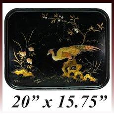 "Antique French Papier Mache 20"" x 15.75"" Serving Tray, HP, Golden Pheasant, Napoleon III"