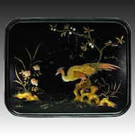 "Antique French Papier Mache 20"" x 15.75"" Serving Tray, HP, Golden Pheasant, Napoleon III"