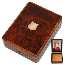Antique French Napoleon III Pocket Watch or Rosary Casket, Burled Box, Portrait Miniature Inside