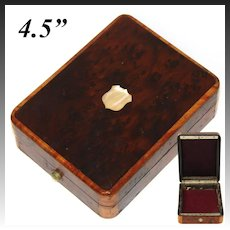 Antique French Napoleon III Pocket Watch or Rosary Casket, Burled Box, Pearl Cartouche