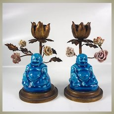 Antique French Candle Holder Pair (2), Sevres or Celeste Blue Porcelain Buddhas and Flowers