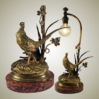 "Antique Dore Bronze Sculpture, Moignez, Marble Plinth and Made as a Desk or Table Lamp, 13.75"" Tall"