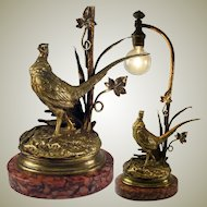 """Antique Dore Bronze Sculpture, Moignez, Marble Plinth and Made as a Desk or Table Lamp, 13.75"""" Tall"""