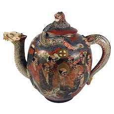 Antique to Vintage Hand Painted Satsuma Tea Pot, Dragon and Many Faces, Signature