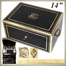 """Superb Antique French AUCOC Marked 14"""" Travel Chest, Box, Sterling Topped Jars & More"""