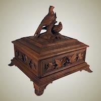 "Antique HC Black Forest 9.75"" Document, Jewelry Box, Casket with Birds, Excellent!"