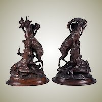 "Antique Pair (2) HC Black Forest Candle Holders, Animalier, Fruits of the Hunt Theme, 11.5"" Tall Chamois and Goats for Lamps"