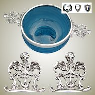 Lovely Antique English Sterling Silver & Electric Blue Glass Caviar? Dish, Bowl or Ecuelle, Mascarons