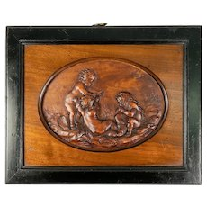 "Apprentice Carver's Fine Hand Carved Wood Plaque in 8.75"" Frame, Doll House Size w 3 Putti"