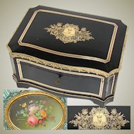 """Stunning Antique French 14.5"""" Jewelry or Sewing Chest, Boulle, Crown Monogram, Floral Miniature Painting, Tahan?"""