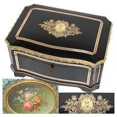 "Superb Antique French 14.5"" Jewelry or Sewing Chest, Boulle, Crown Monogram, Floral Miniature Painting, Tahan?"