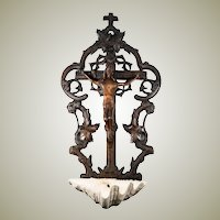 "Antique HC Black Forest Crucifix, Christ and Holy Font, 19.75"" Tall, Natural Shell Font"