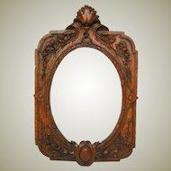 """Fab Antique Victorian Era Carved Oak 8"""" Tall Picture Frame, Ornate Floral & Foliate"""