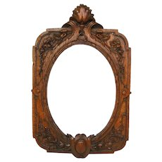 "Fab Antique Victorian Era Carved Oak 8"" Tall Picture Frame, Ornate Floral & Foliate"