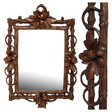 "Antique Victorian Era Black Forest Carved 9.75"" Picture Frame, Pierced Vines & Foliage"