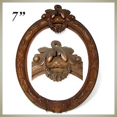 """Antique Victorian Era Carved Wood 7"""" Tall Picture Frame, Laurel Wreath, Floral Garland"""