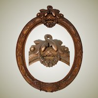 "Antique Victorian Era Carved Wood 7"" Tall Picture Frame, Laurel Wreath, Floral Garland"