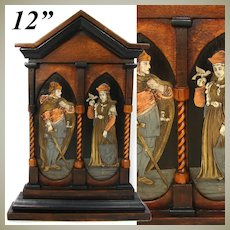 """Antique Victorian Era 12"""" Altar Style Carved Wood Frame, Marquetry Metal Inlay Figures"""