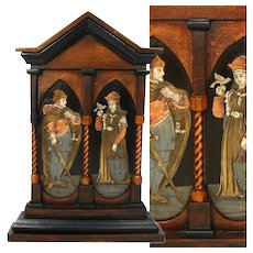 "Antique Victorian Era 12"" Altar Style Carved Wood Frame, Marquetry Metal Inlay Figures"