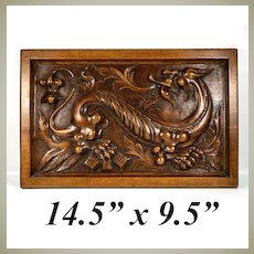 "Superb Antique Hand Carved Wood Plaque, Chimera or Dragon, Neogothic, Gothic, 14.5"" x 9.5"""