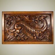 """Superb Antique Hand Carved Wood Plaque, Chimera or Dragon, Neogothic, Gothic, 14.5"""" x 9.5"""""""