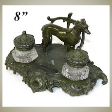 """Antique Victorian 8 1/4"""" Double Inkwell in Bronze or Verdigris Patinated White Metal, Dog Figure"""