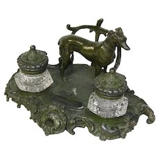 "Antique Victorian 8 1/4"" Double Inkwell in Bronze or Verdigris Patinated White Metal, Dog Figure"