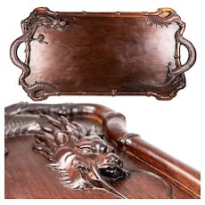 """Antique to Vintage Hand Carved Teak Wood Asian Dragon Bar Serving Tray w Handles, 25.5"""" Long"""